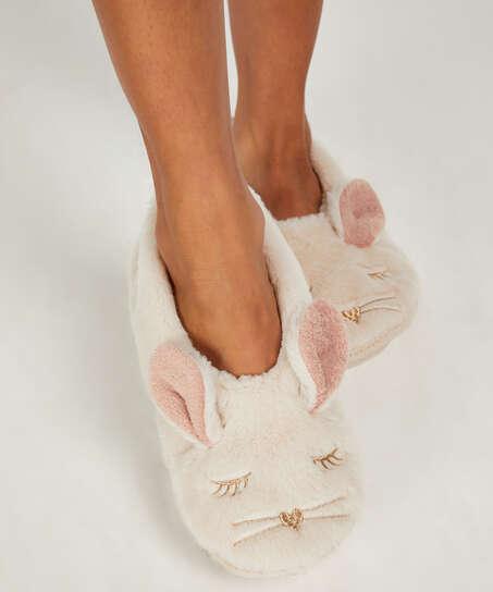 Pantoffeln Ballerina Kaninchen, Beige