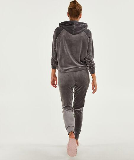 Langarm-Pyjamatop Velours, Grau