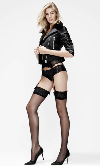 2 Paar Stockings 15 Denier Lace, Schwarz