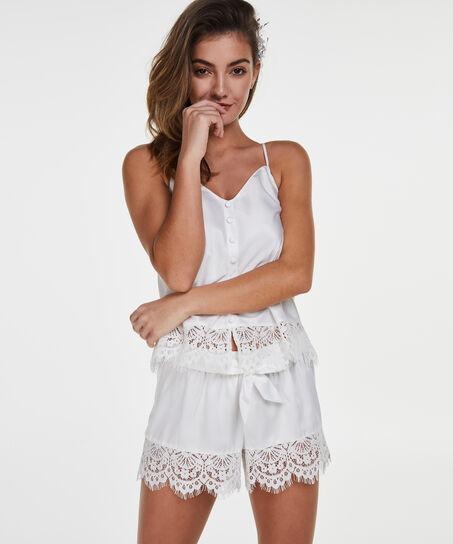 Pyjamashorts Satin Lace Bridal, Weiß