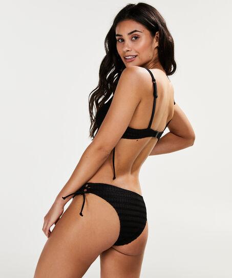Niedriger Cheeky-Bikinislip Tied Down, Schwarz