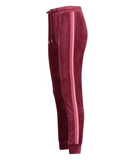 Jogginghose Velours Stripe, Rot