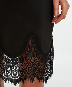 Slipdress Lace Satin, Schwarz