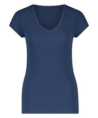 Pyjama-Top, kurzärmelig, Rippmaterial, Blau