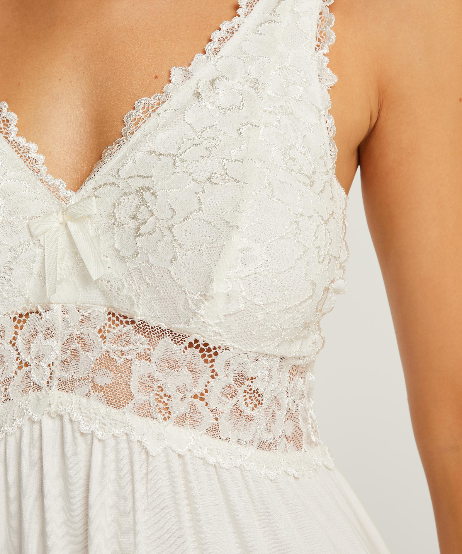 Slipdress Modal Lace mit Spitze, Weiß, main