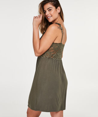 Slipdress Modal Lace, grün