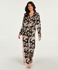 Satin-Pyjama-Oberteil Emily, Schwarz