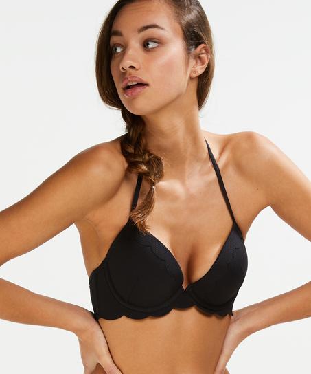 Vorgeformtes Push-up Bügel-Bikinitop Scallop Cup A - E, Schwarz