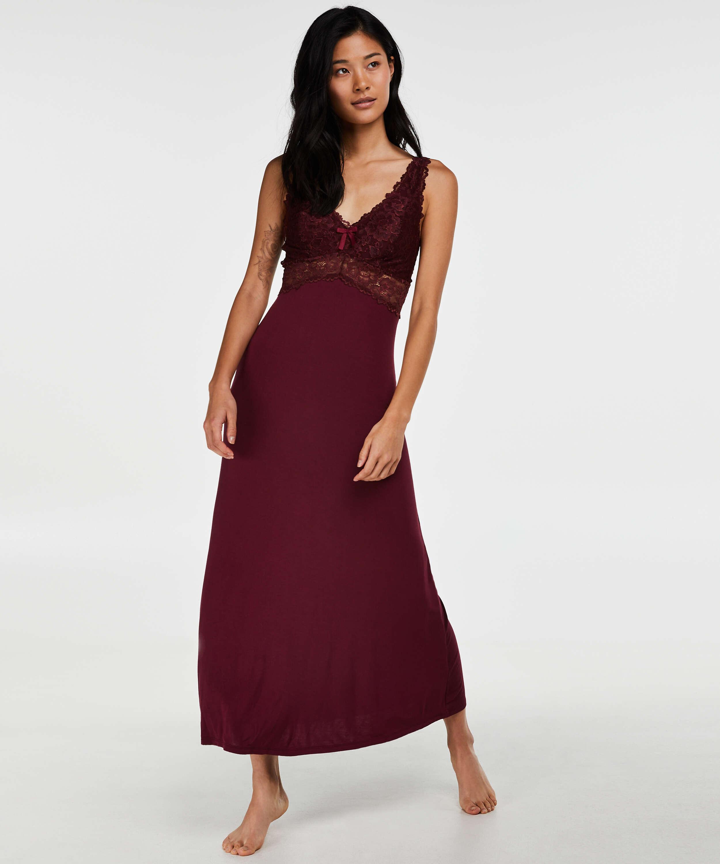 Langes Slipdress, Modal Lace, Rot, main