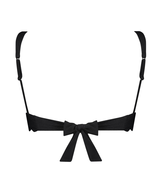 Triangel-Bikini-Oberteil Scallop, Schwarz, main