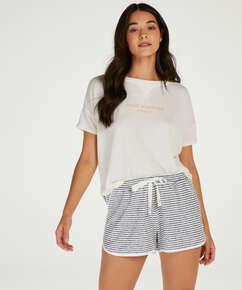 Kurze Pyjamahose Brushed Stripe, Grau