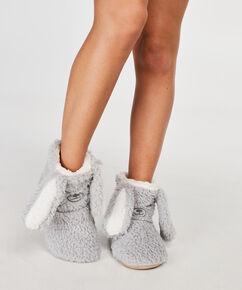 Pantoffeln Fluffy Bear, Grau