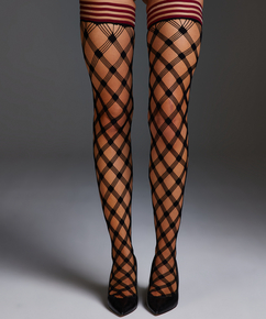 Stay-up Private Fishnet Crystal, Rot