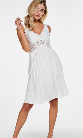 Slipdress Modal Lace, Weiß