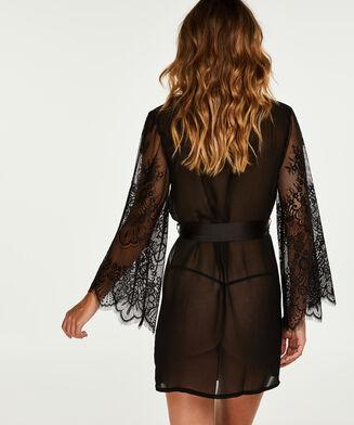 Kimono Chiffon Fine Lace, Schwarz