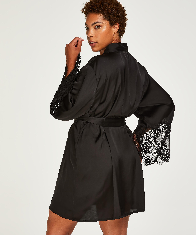 Kimono Lace Satin, Schwarz, main
