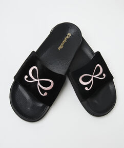 Slippers Bow Velours, Schwarz