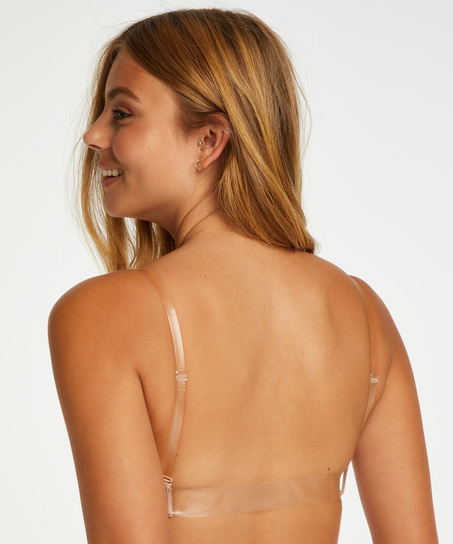 Vorgeformter Push-up-Bügel-BH, transparent back, Beige