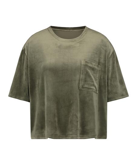 Top Velours Pocket, grün