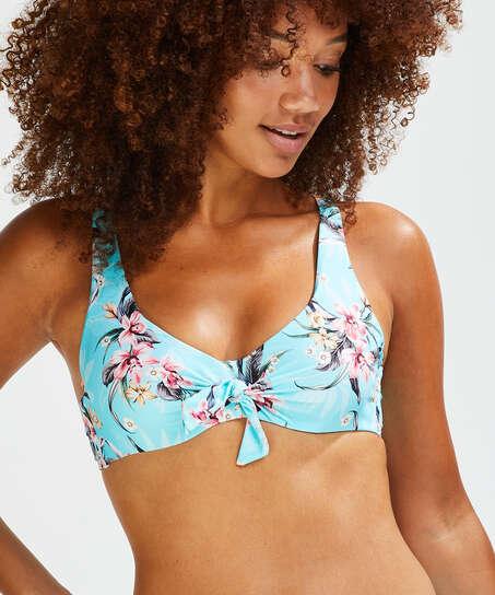 Nicht-vorgeformtes Bügel-Bikinioberteil Bea, Blau
