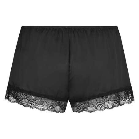Pyjama-Shorts Satin, Schwarz