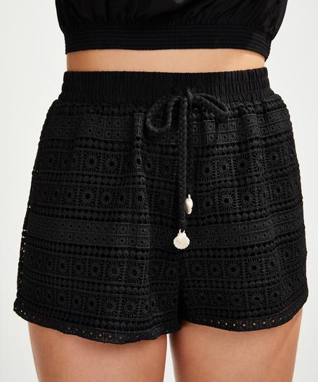 Shorts Crochet, Schwarz
