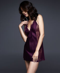 Slipdress, Satin, deep v, Lila