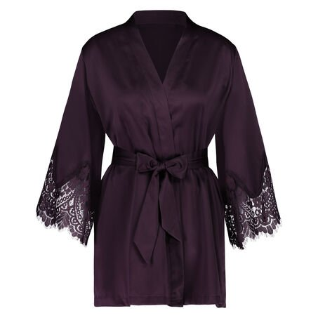 Kimono Lace Satin Indra Petite, Lila