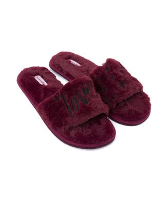 Fake Fur Slippers Love, Rot