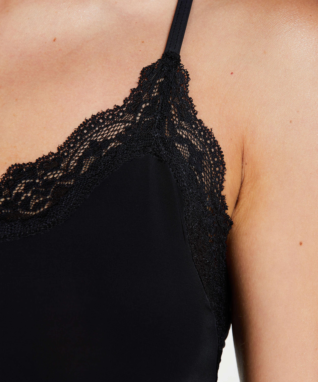 Straffendes Unterkleid mit Spitze - Level 1, Schwarz, main