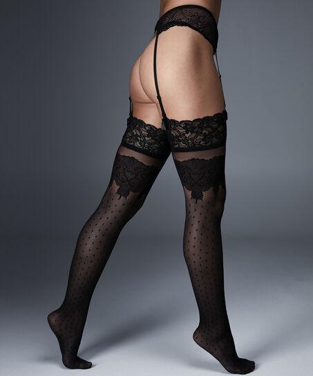 Stockings Noir All-over Decor, Schwarz
