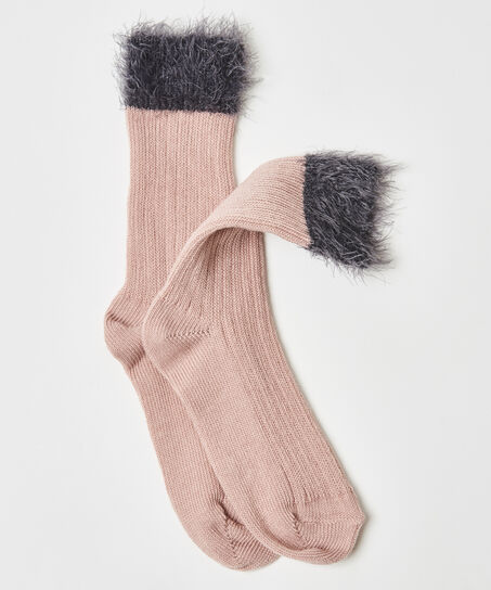 1 Paar flauschige Socken, Rose