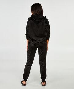 Langarm-Pyjamatop Velours, Schwarz