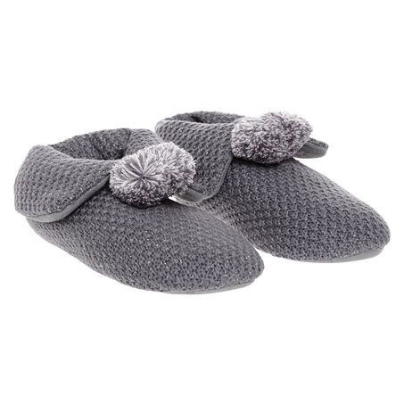 Slippers booty pompom, Grau