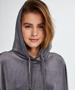 Bademantel-Kleid aus Velours, Grau