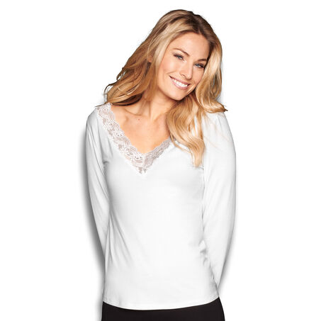 Top v-neck lace, Weiß