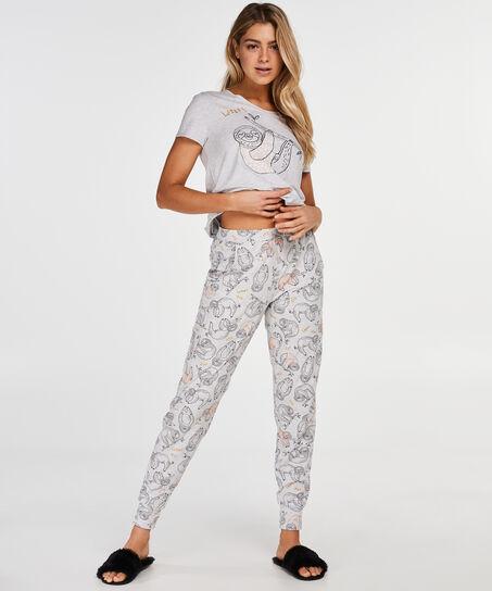 Kurzarm-Pyjamatop, Grau
