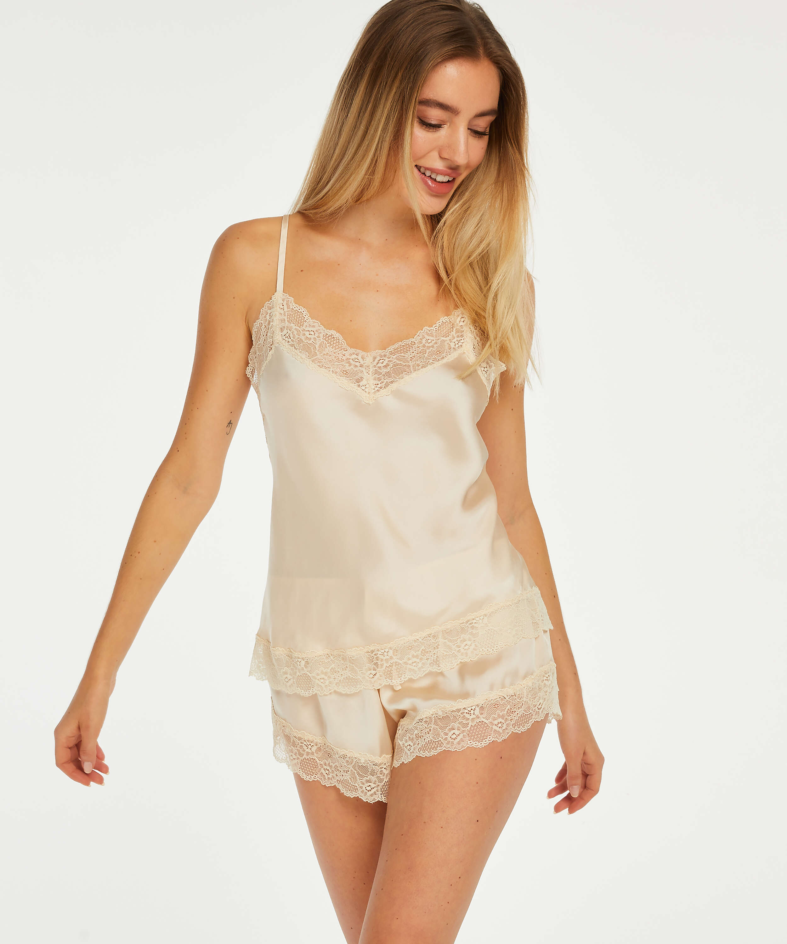 Pyjama-Shorts Satin, Beige, main