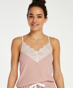 Cami-Top Brushed Rib Lace, Rosa