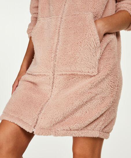 Bademantel Fleece Reißverschluss - Pink Ribbon, Rose