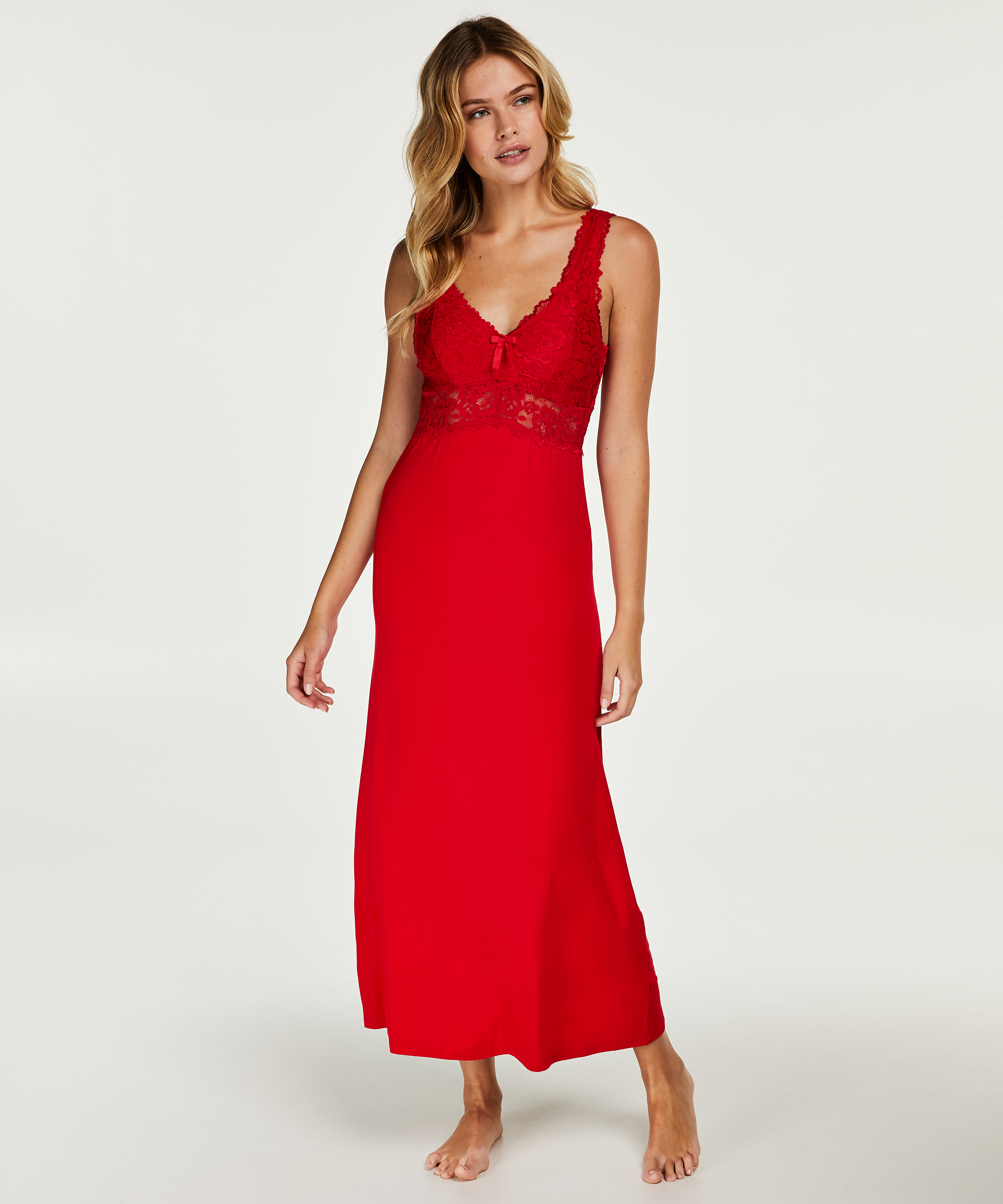 Langes Slipdress, Modal Lace, Rot, main