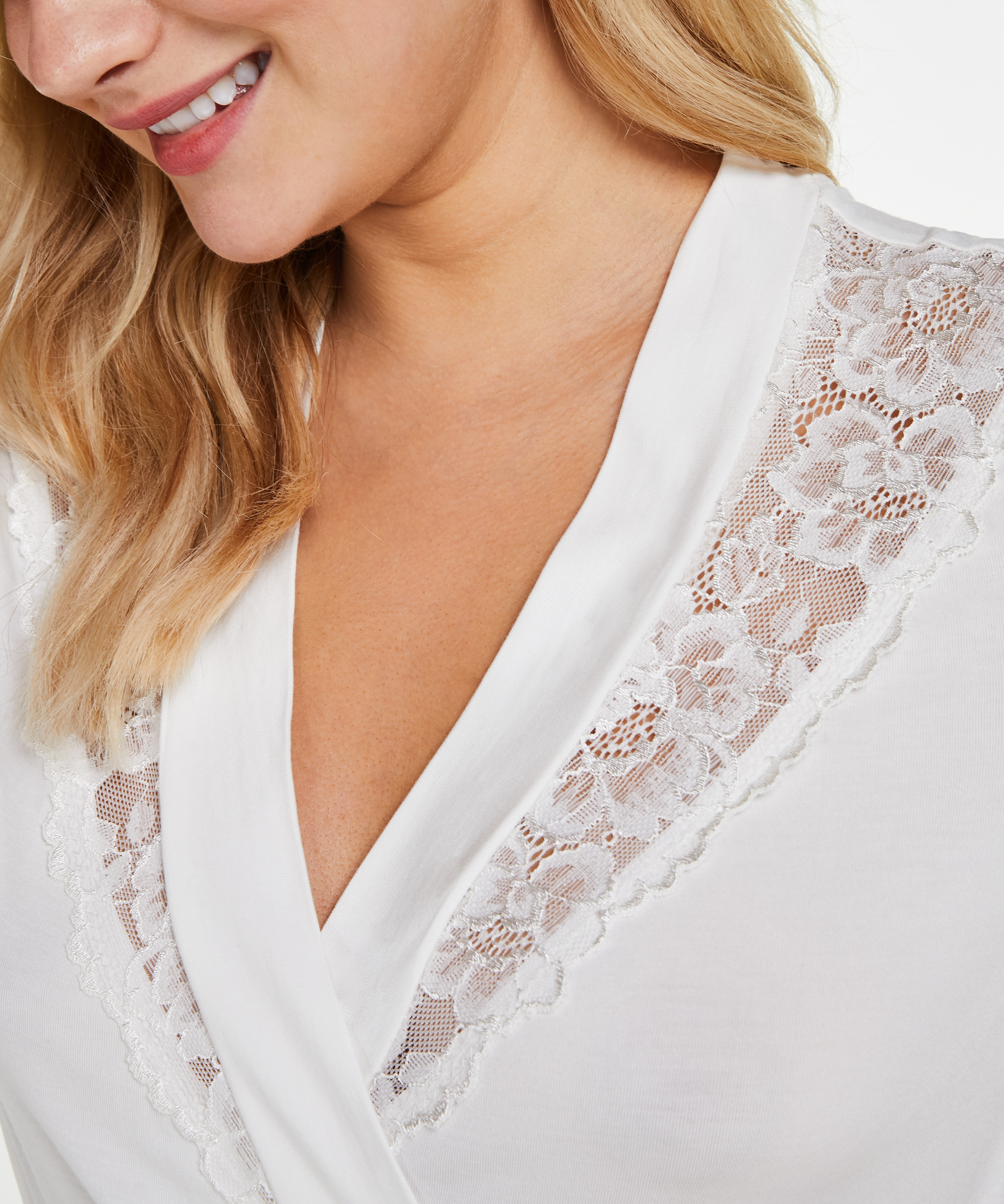 Bademantel Modal Lace, Weiß, main