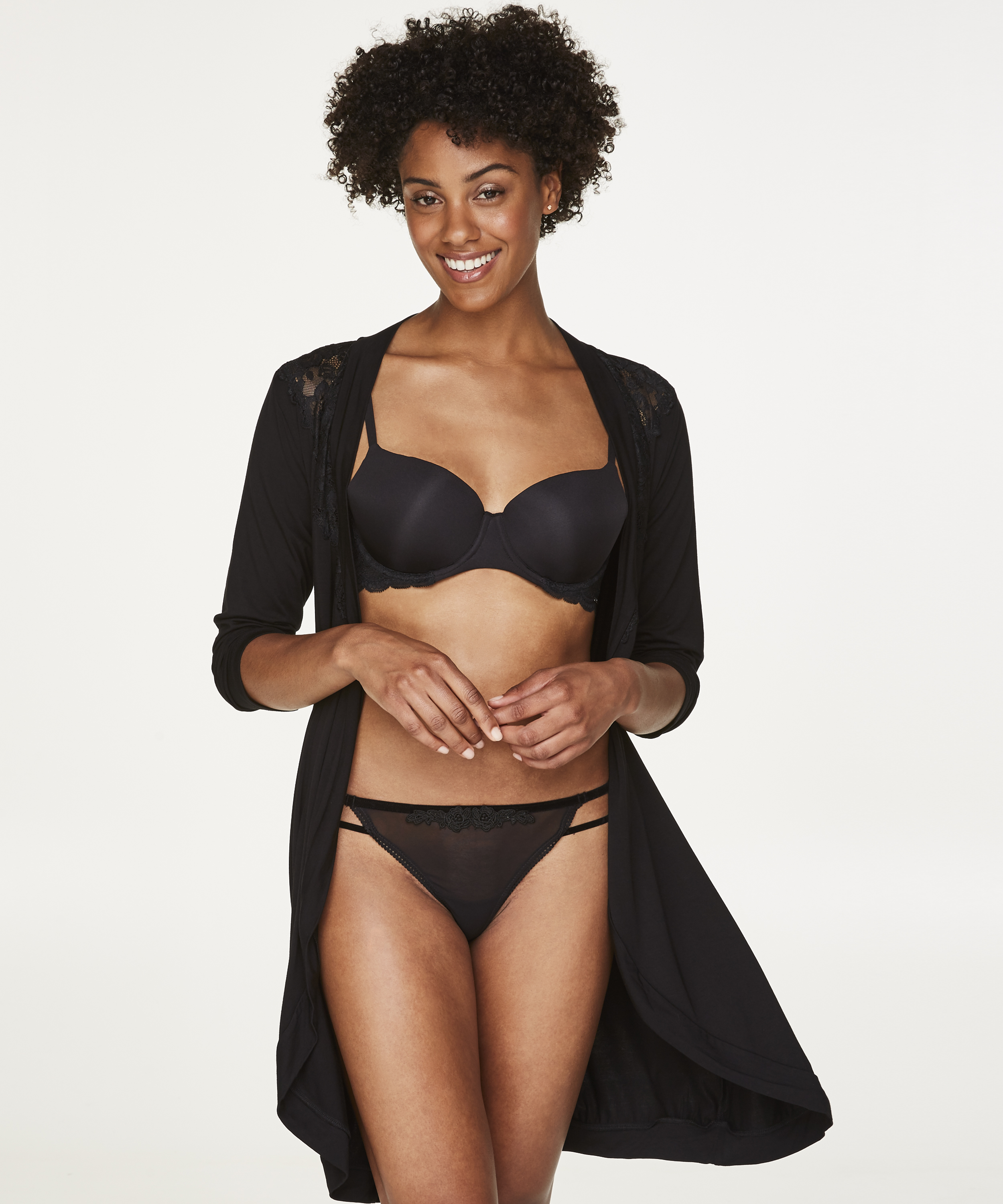 Bademantel Modal Lace, Schwarz, main