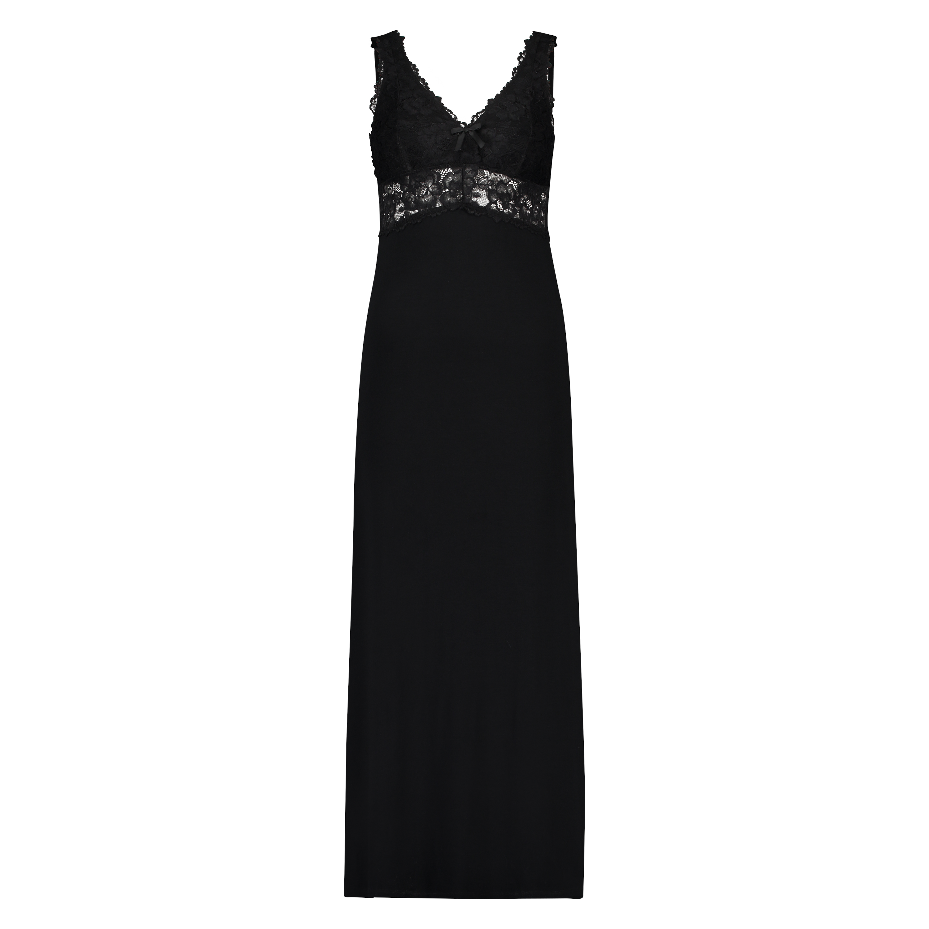 Langes Slipdress, Modal Lace, Schwarz, main