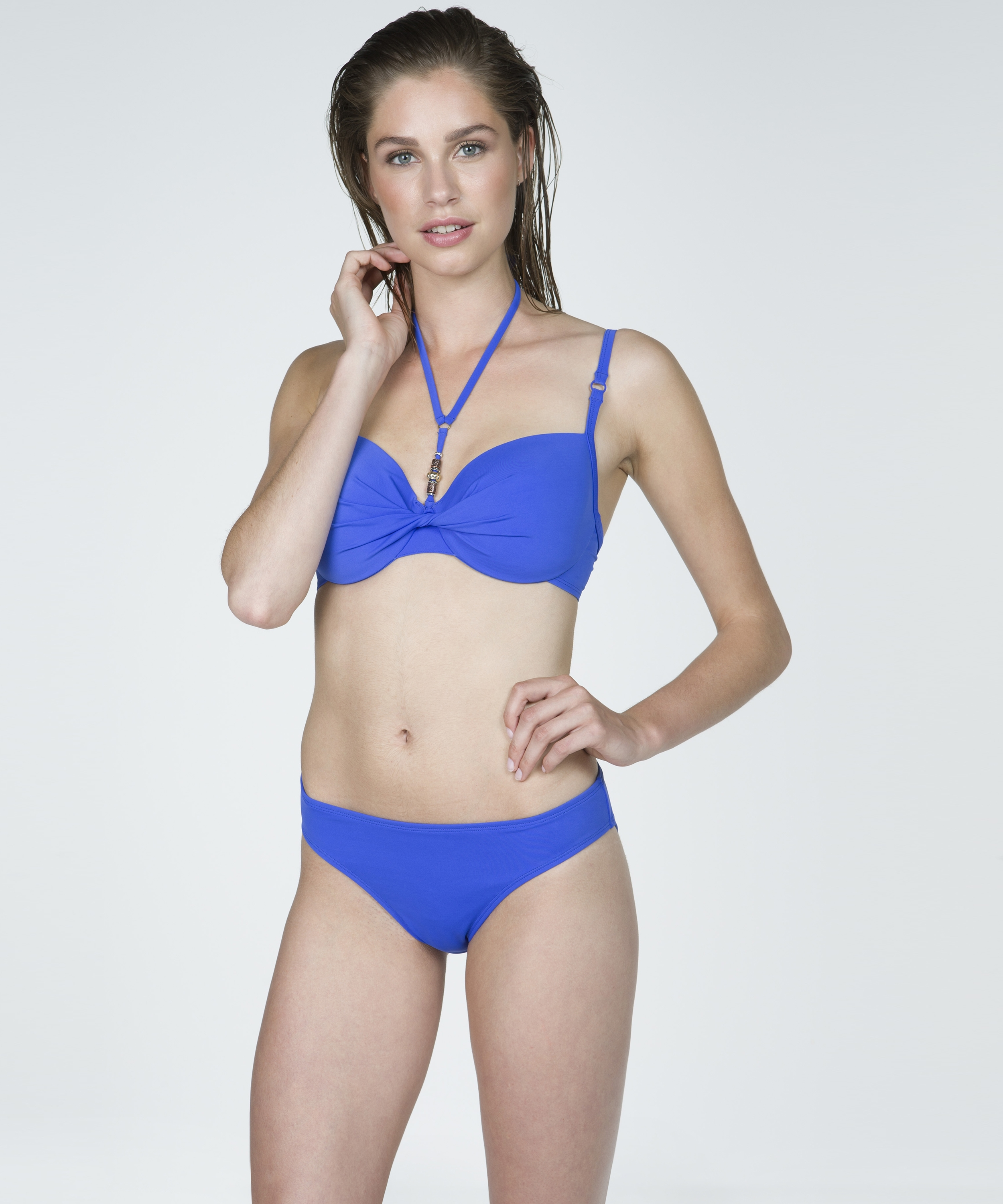 Vorgeformtes Bikini-Top Necklace Wave, Blau, main